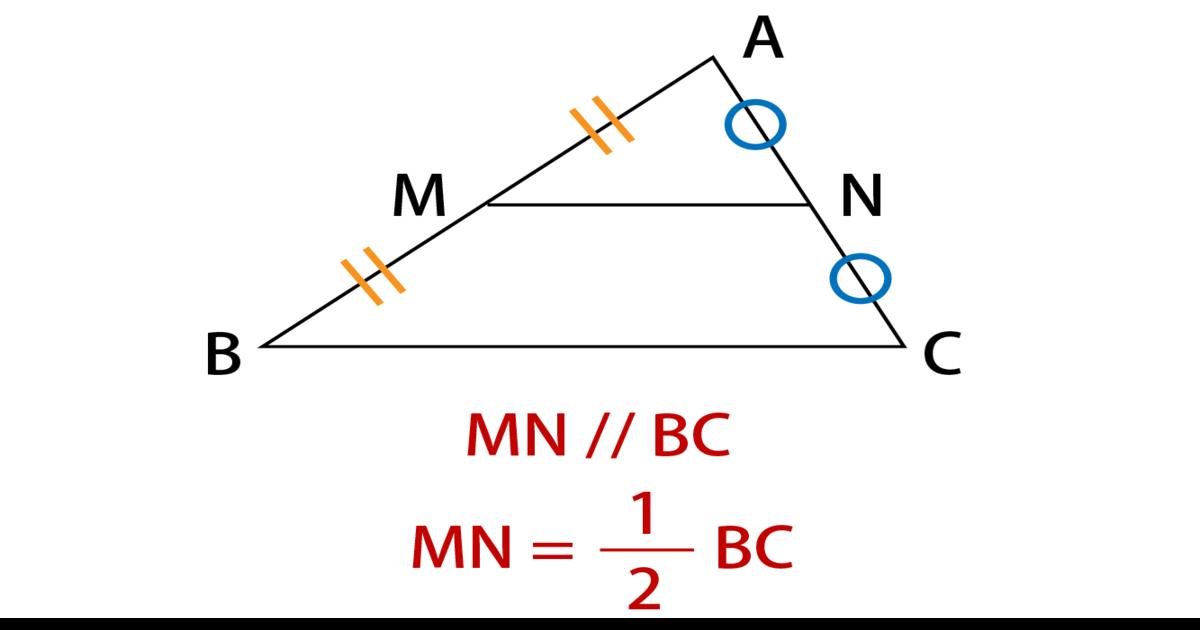 中点連結定理の基本的な公式の図