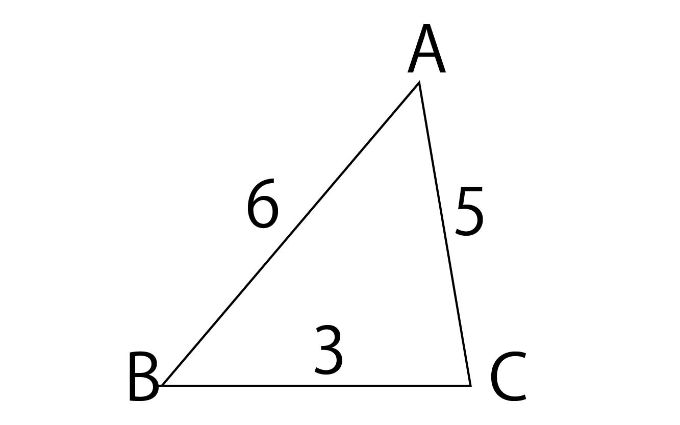 3辺が3、5、6の三角形ABC