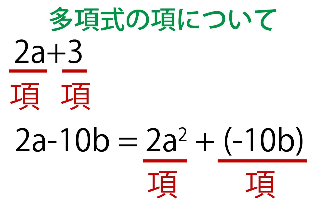 多項式の項についての解説画像