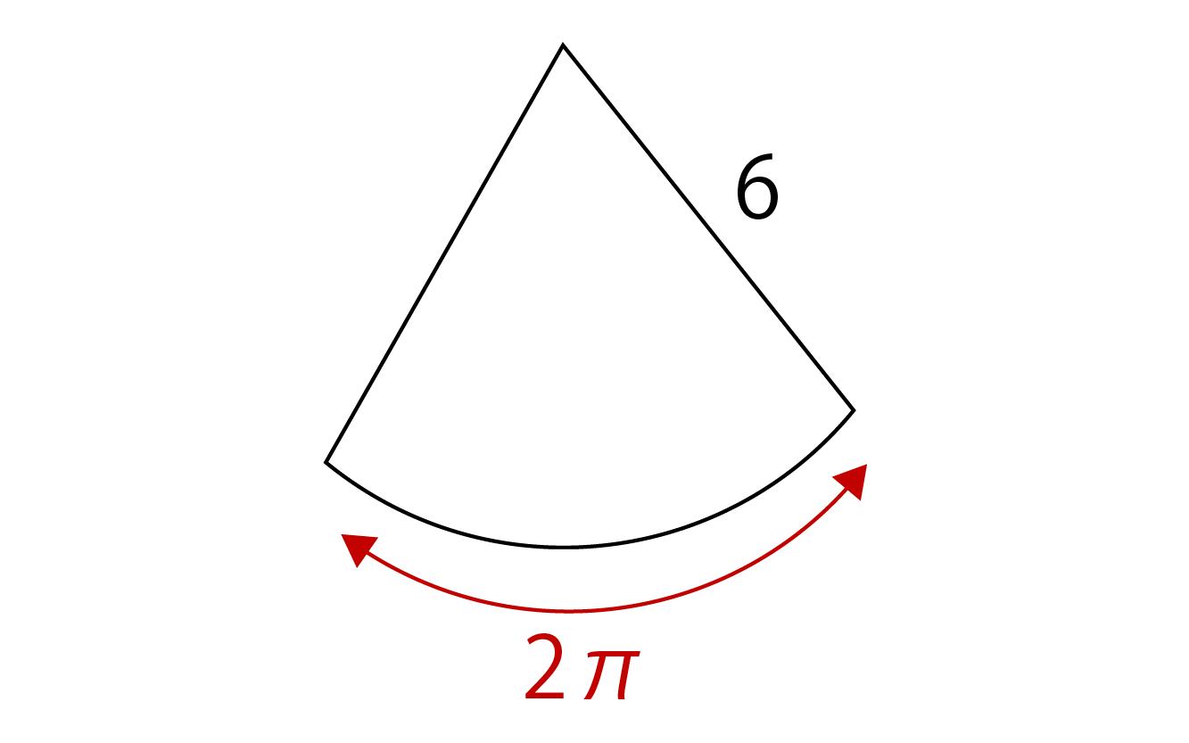 弧の長さが2π、半径が6の扇形