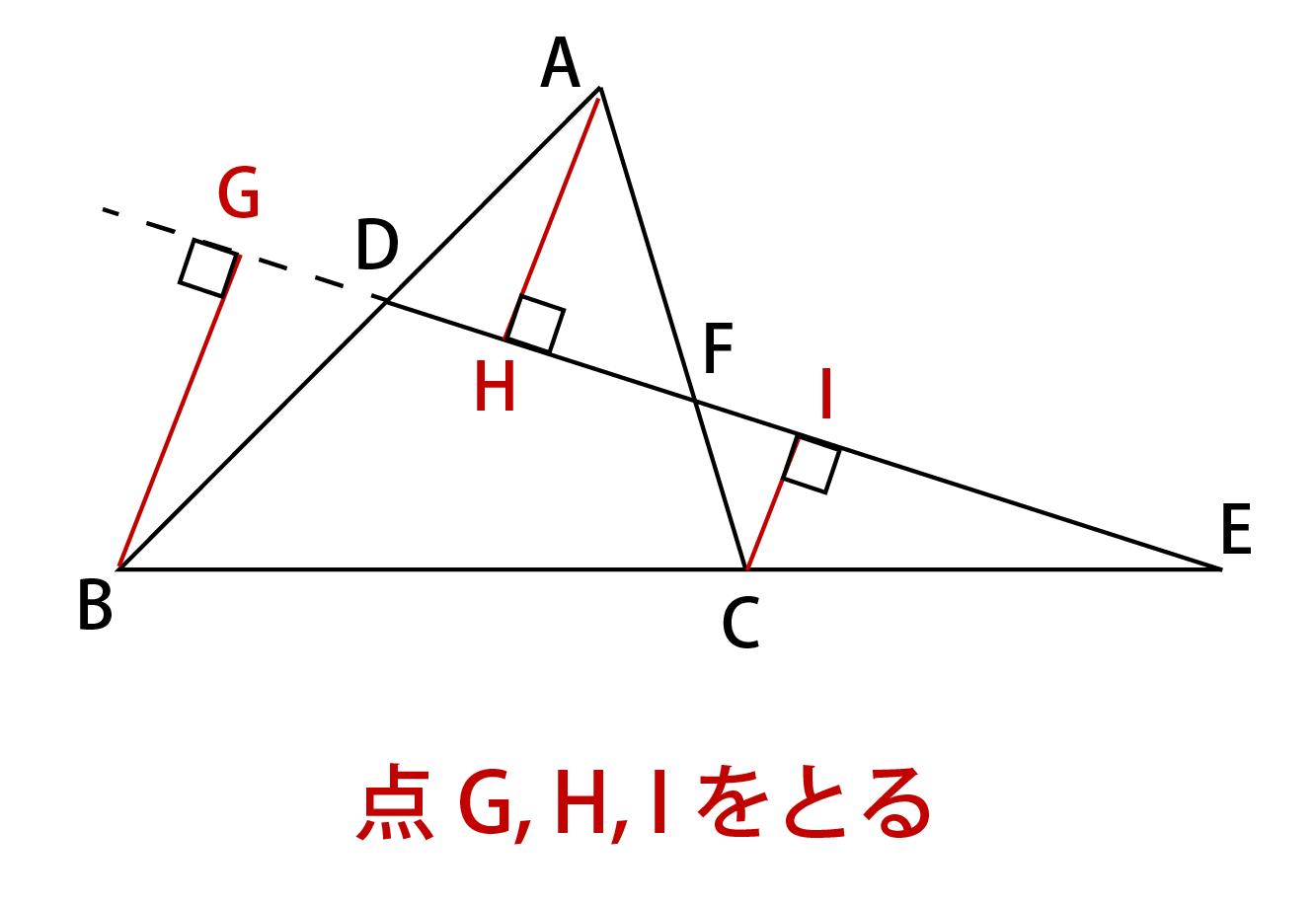 メネラウスの定理の証明解説画像