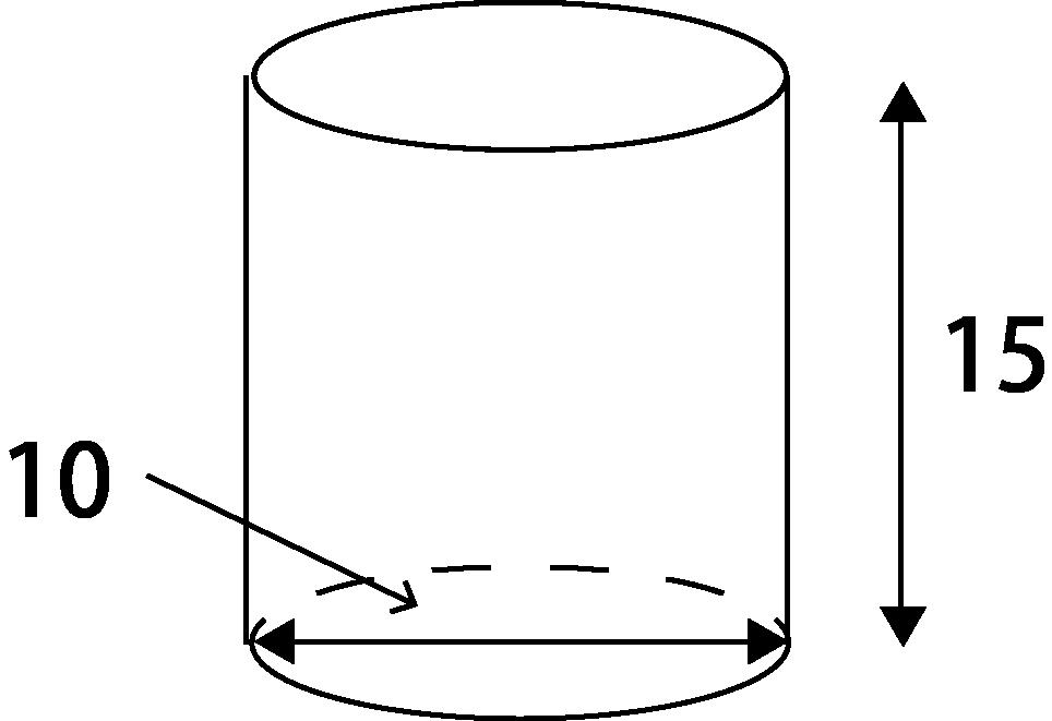 底面の直径が10、高さが15の円柱