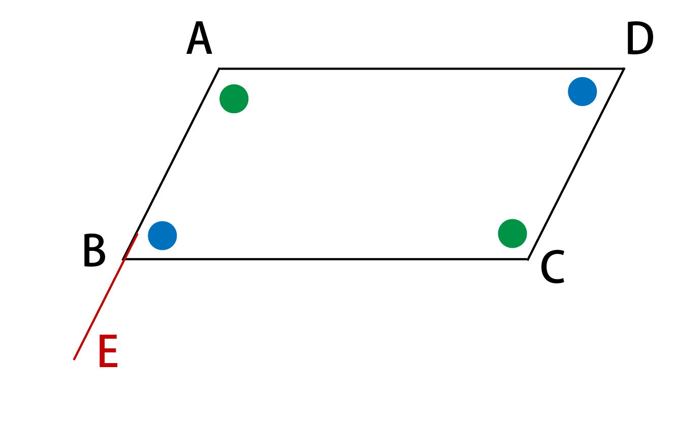 ABの延長上の点E
