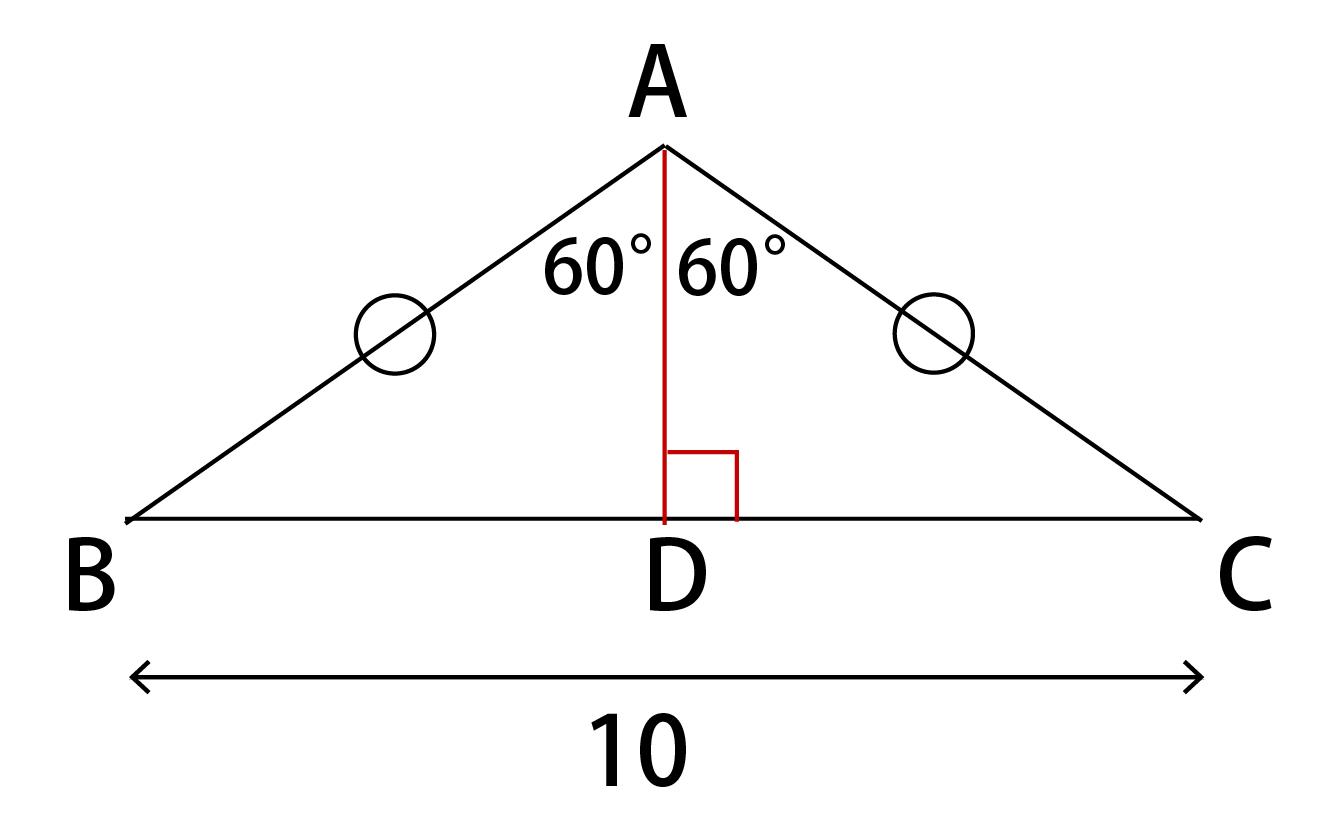 頂角の二等分線を引いた場合
