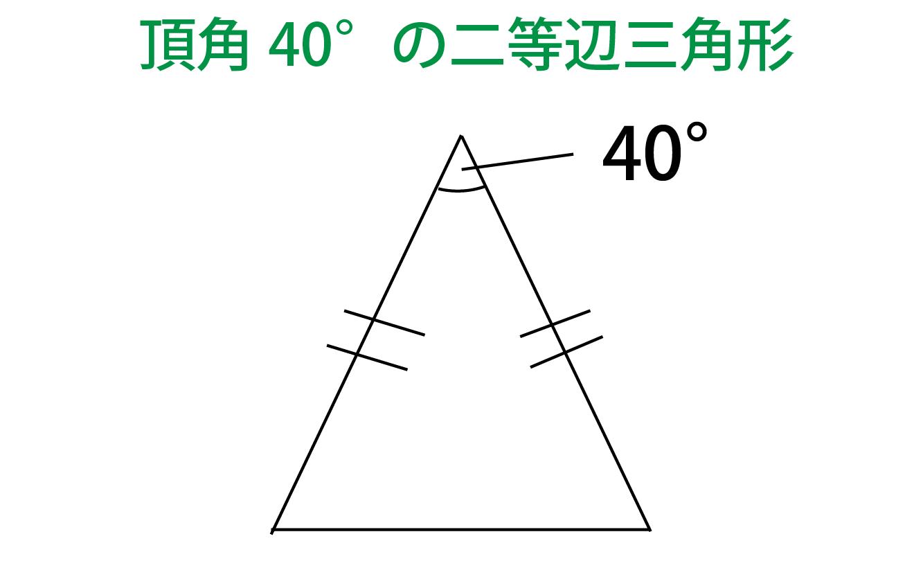 頂角が40°の二等辺三角形