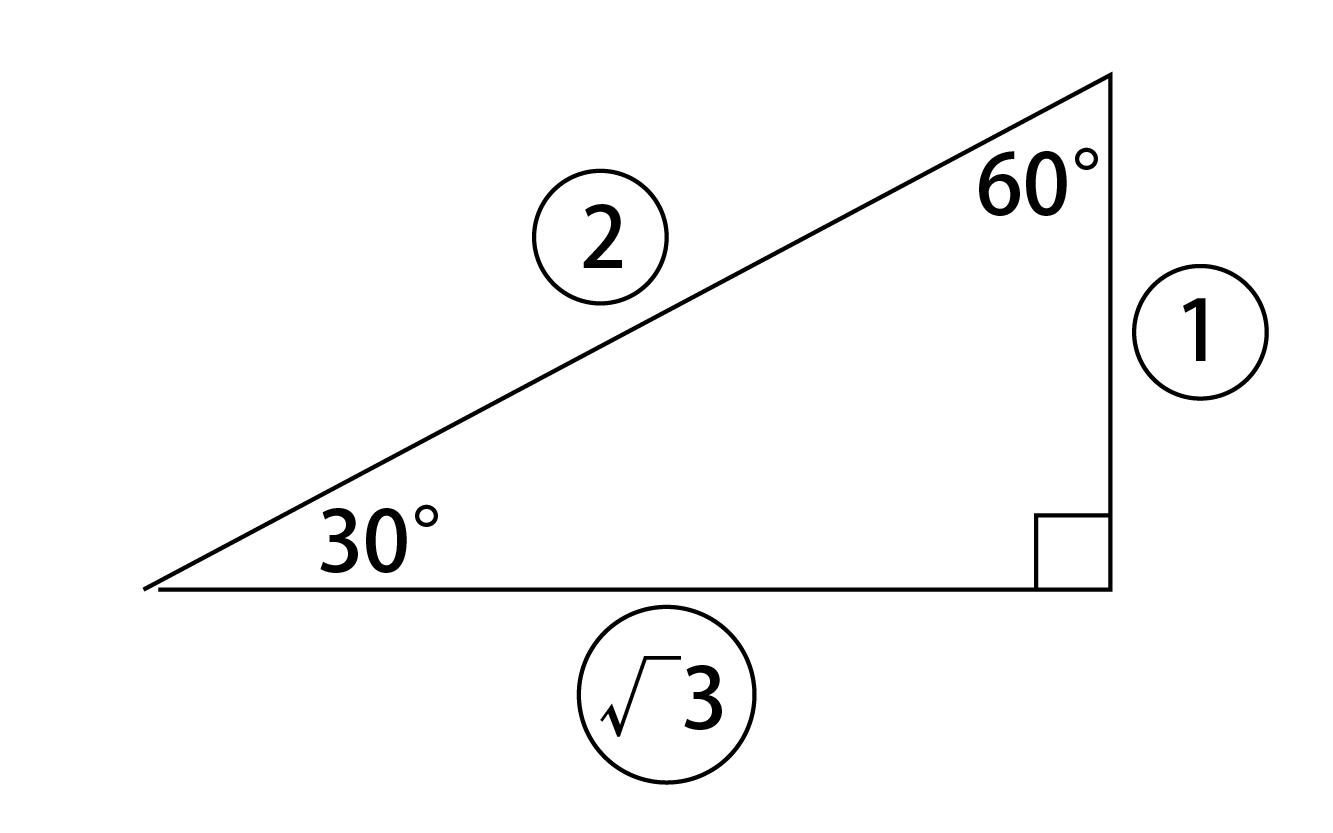 30°、60°、90°の直角三角形の辺の比