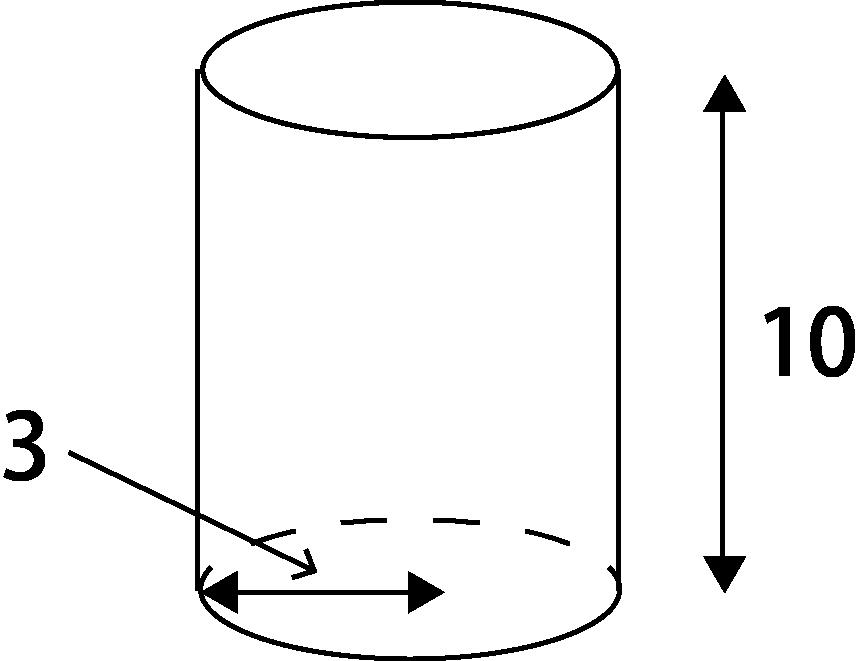 底面の半径が3、高さが10の円柱