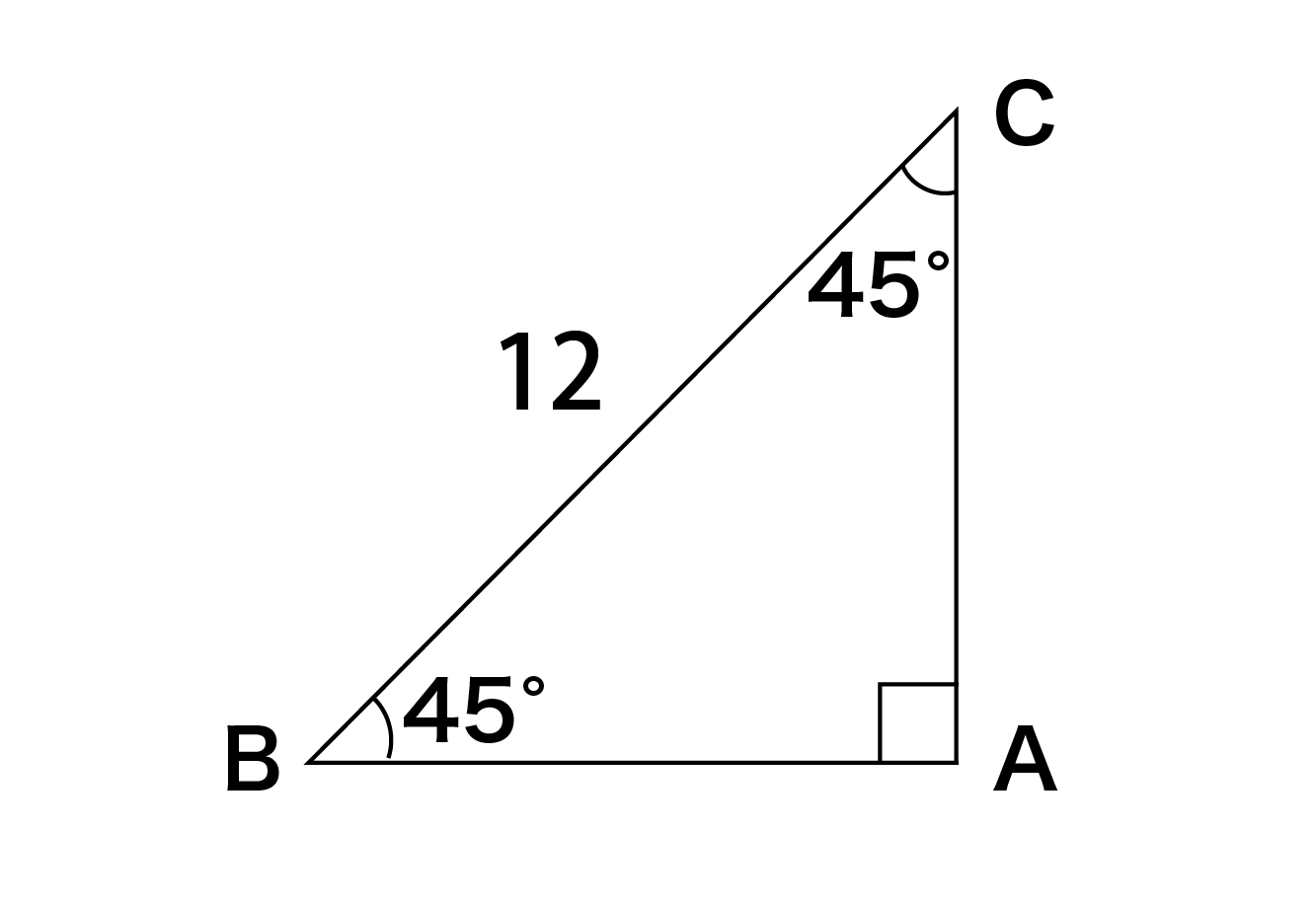 BC=12の直角二等辺三角形