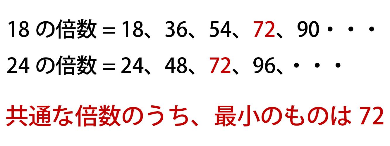 18と24の最小公倍数