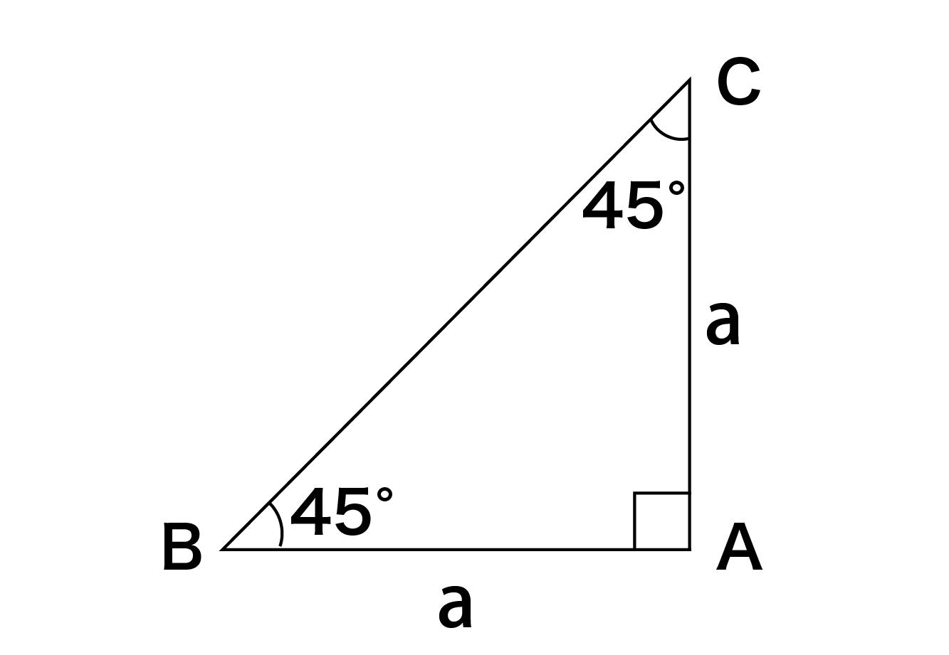 直角二等辺三角形の面積の公式(求め方)