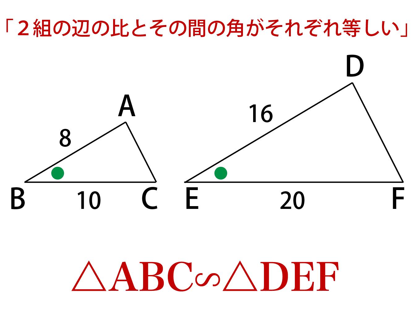 2組の辺の比とその間の角がそれぞれ等しい