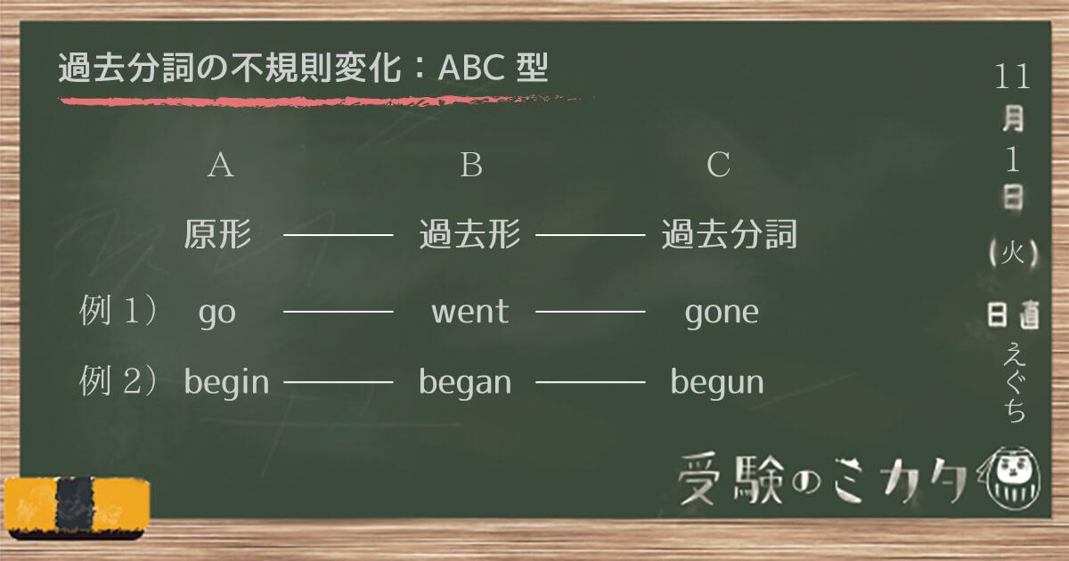 過去分詞の不規則変化の一覧表