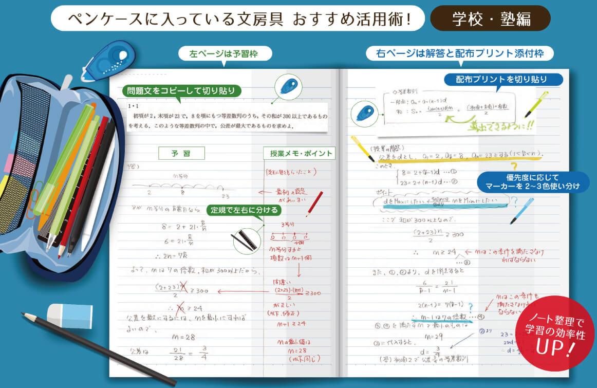 ペンケースに入っている文房具でおすすめなノート作成方法!学校・塾編