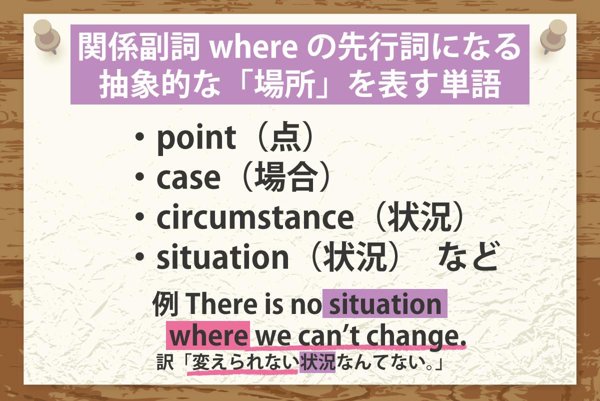 関係副詞whereの説明が先行詞にする単語