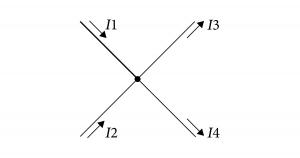 キルヒホッフの第1法則 電気回路の任意の分岐点 十字
