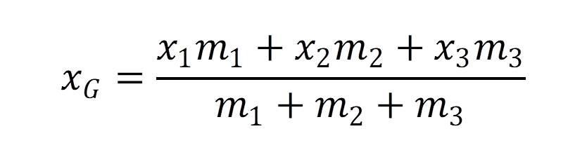重心の求め方:y軸方向にも密度の分布がある図形の場合のXの式