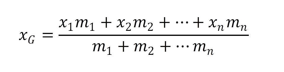 作用点がn点ある場合の重心の式