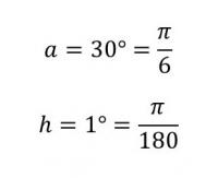 aとhの角度をラジアンで表す図