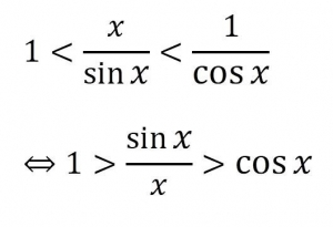 sinx/xの極限の証明に関する式です。