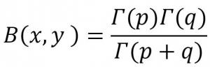 γ(ガンマ)関数を用いたβ(ベータ)関数