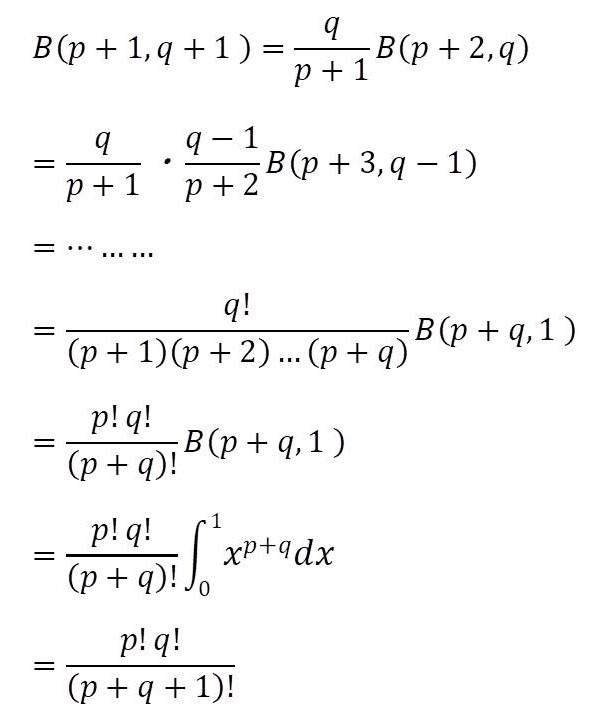 部分積分を用いたβ(ベータ)関数の証明の課程