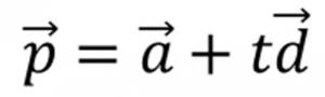 変数tの値によるベクトルの方程式