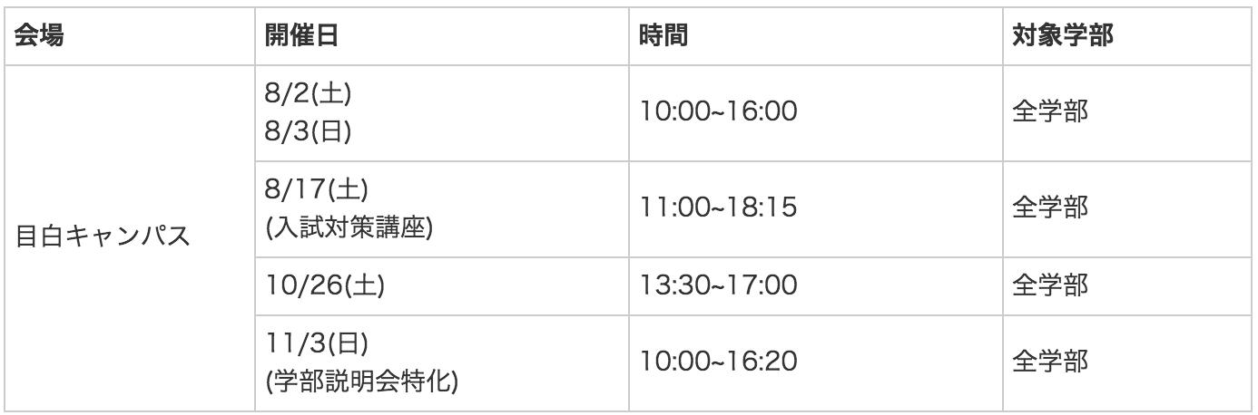 学習院大学オープンキャンパス日程(2019年版)