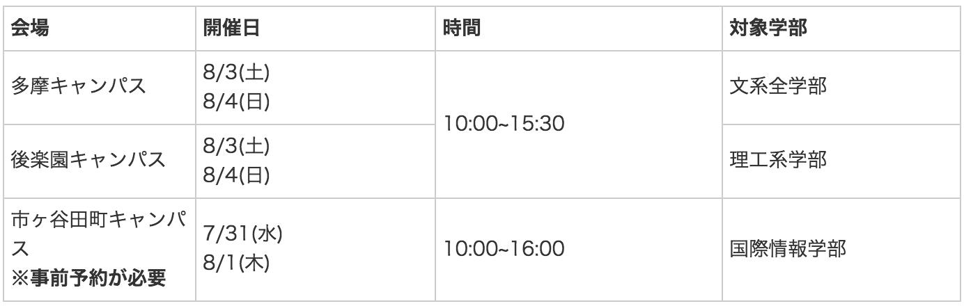 中央大学オープンキャンパス日程(2019年版)
