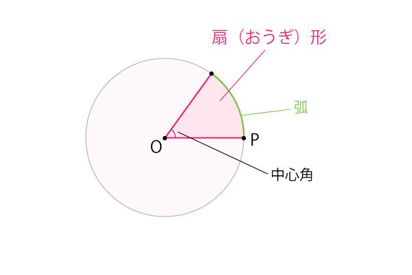 扇形、弧、中心角の説明