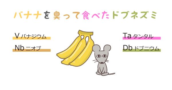 元素記号の語呂合わせ「バナナをにおって食べたドブネズミ」