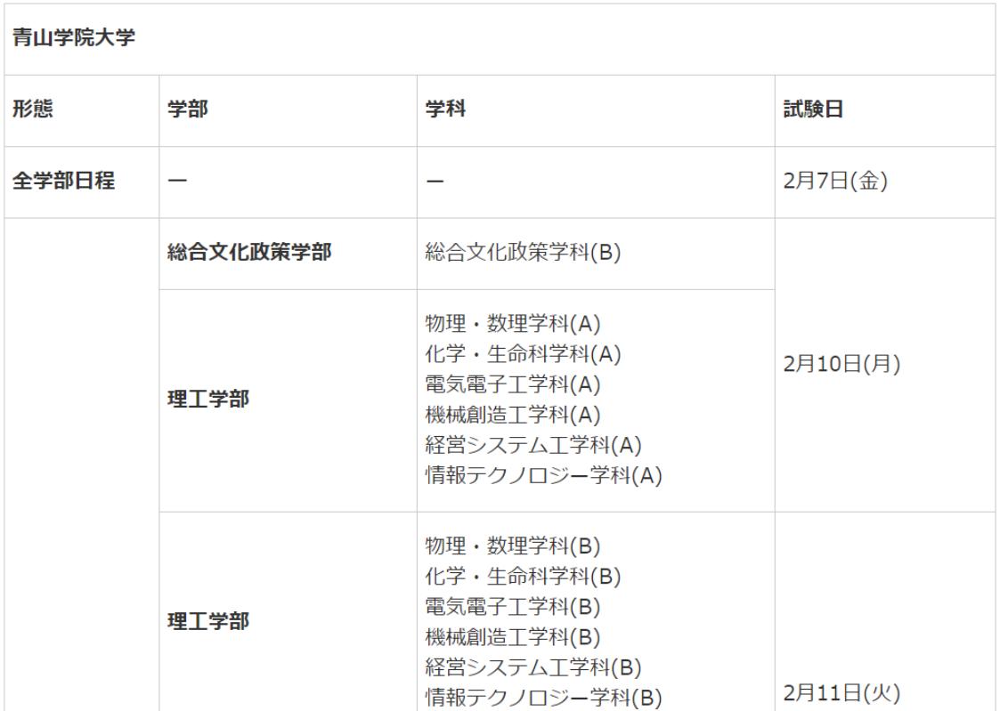 青山学院大学受験日程1