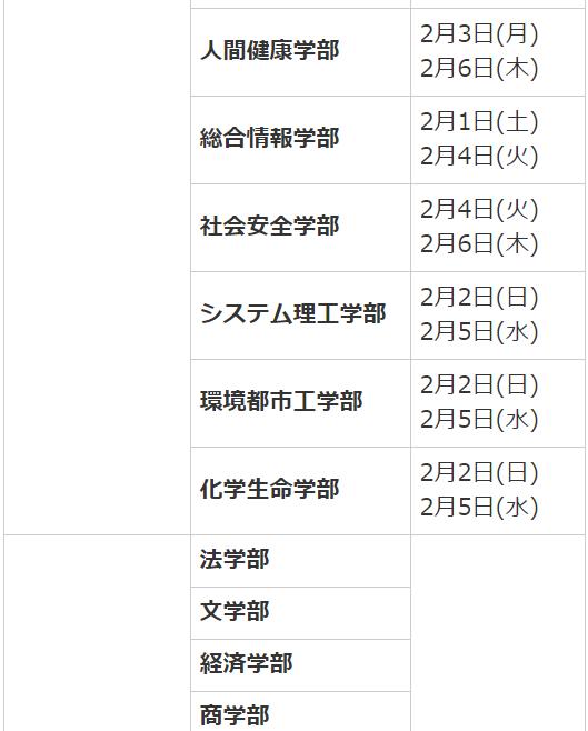 関西大学受験日程2