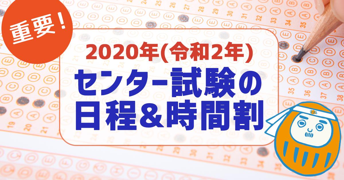 2020年(令和2年)センター試験の日程と時間割