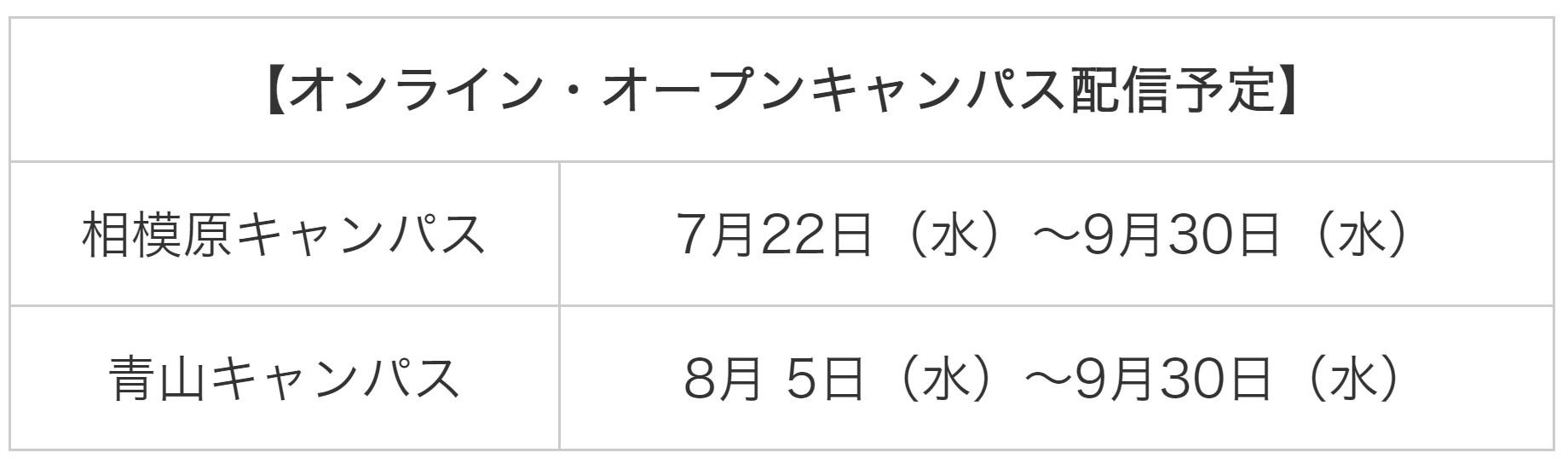 青山学院大学オンライン・オープンキャンパス配信予定