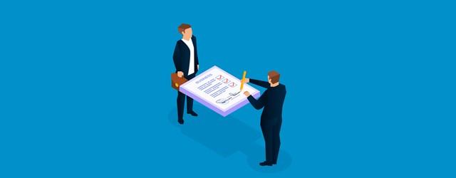 交渉するビジネスマンの画像